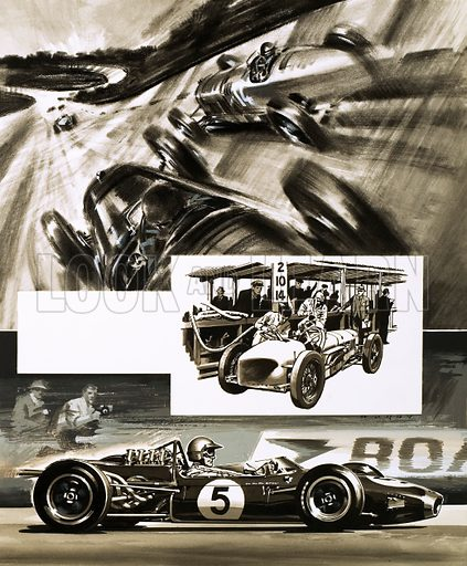 Grand Prix Racing: The British Grand Prix. (top) cars racing along the Byfleet Banking on the course at Brooklands; (centre) Delage refuelling; (bottom) Jack Brabham in a Brabham Repco. Original artwork from Look and Learn no. 341 (27 July 1973).