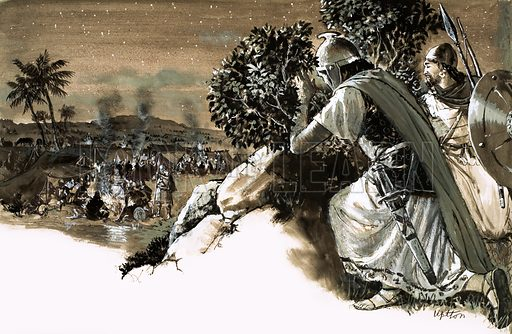 Jonathan's Great Victory. Jonathan, the son of Saul, and his armour bearer looks down on the great army of Philistines. Original artwork from Treasure no. 60 (7 March 1964).