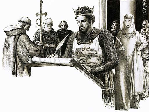 So That's Why... People Signed with a Cross. William the Conqueror, and his queen, Matilda, sign a document at Canterbury in 1072. Original artwork from Look and Learn no. 235 (16 July 1966).