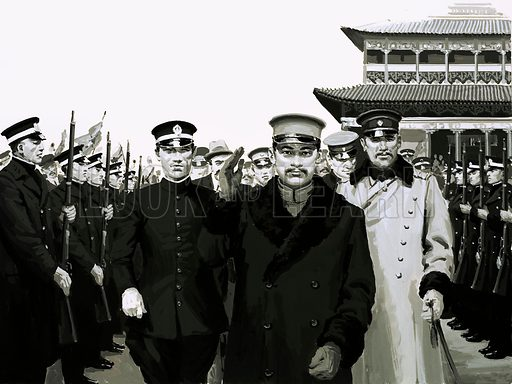 History's Heroes: The Man the Manchu's Feared. Sun returned to China to a hero's welcome and the presidency of the first Chinese republic. Original artwork from Look and Learn no. 585 (31 March 1973).