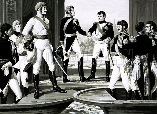 The Rise and Fall of the Romanovs: The Unwilling Emperor. Napoleon and Czar Alexander stood on a raft in the middle of the River Niemen and agreed to put an end to the war between them. Original artwork from Look and Learn no. 600 (14 July 1973).