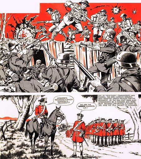 The Battling Yorkshiremen. Original artwork from Look and Learn Book 1984.