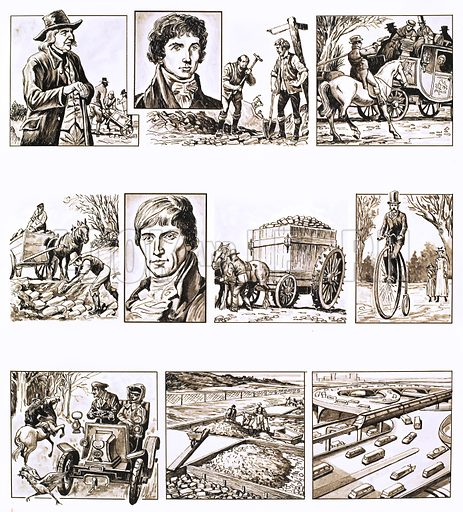 From Then Till now: The Science of Road Building. Original artwork from Look and Learn no. 702 (28 June 1975).