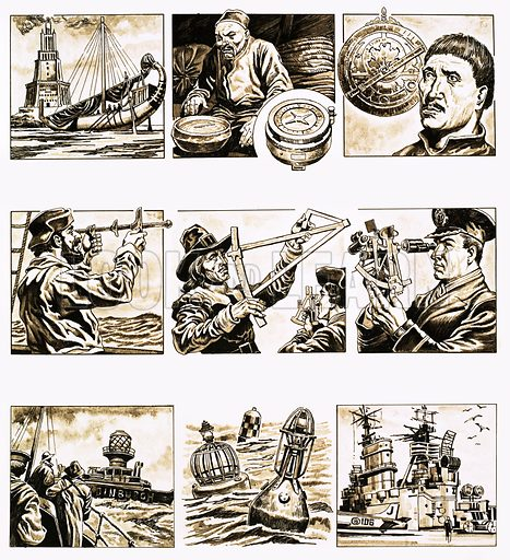 From Then Till Now: Charting the Seas. Methods of navigation and aids to safe sailing including the lighthouse (1), compass (2), astrolabe (3), Jacob's staff (4), Denis Quadrant (5), sextant (6), lightships (7), buoys (8) and radar (9). Original artwork from Look and Learn no. 694 (3 May 1975).