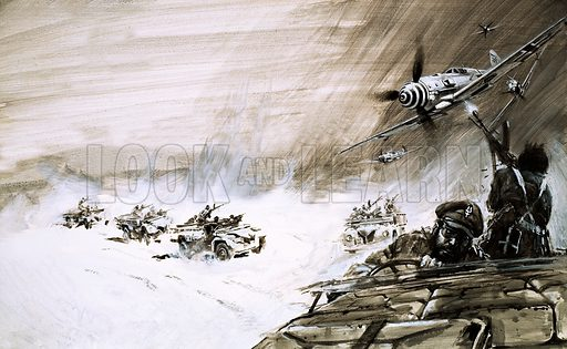 OHMS: Operation 'Bus-Service'. A convoy of five heavy trucks crossing the Egyptian Sand Sea are attacked by an enemy plane. Original artwork from Look and Learn no. 394 (2 August 1969).