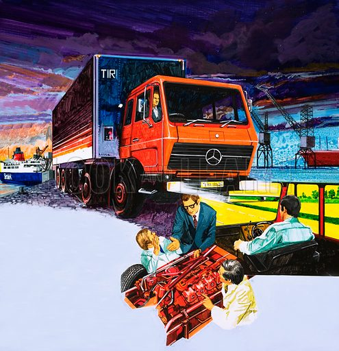 Trucks. Original artwork for Speed and Power book 1979.