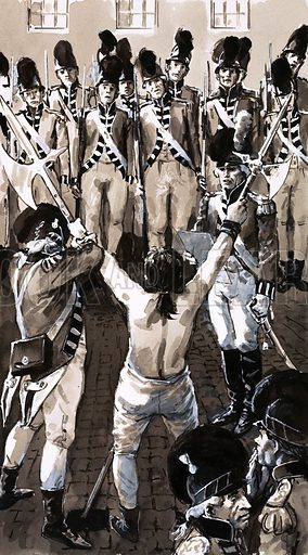 """Civilians Into Soldiers: The Birth of a Volunteer Army. """"As the drums rolled, Major Crichley solemnly read out the sentence – a hundred and twenty-five lashes."""" Original artwork from Look and Learn no. 672 (30 November 1974)."""