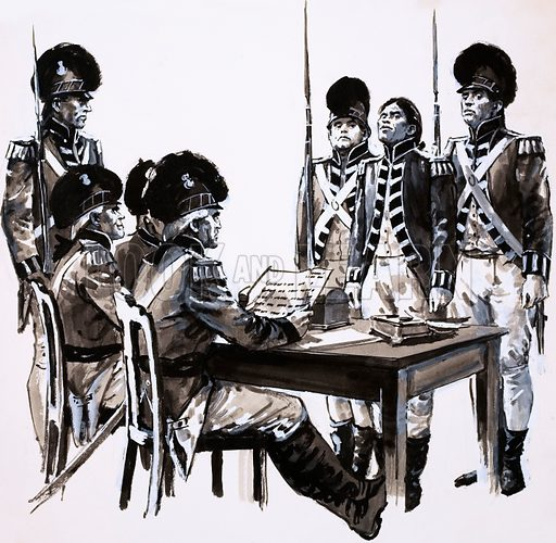 Civilians Into Soldiers: The Birth of a Volunteer Army. The case of Drummer Moore was a difficult one as there was no evidence of his desertion. Original artwork from Look and Learn no. 672 (30 November 1974).