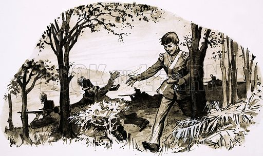 Civilians Into Soldiers: The Battle That Never Was. A young bugler for the Scottish Volunteers using his military hat to carry cartridges to the troops. Original artwork from Look and Learn no. 674 (14 December 1974).