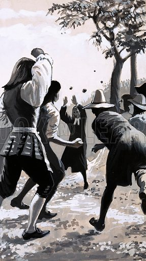 Men With a Mission: Britain Was His Parish. John Wesley, the preacher, was not always welcome at meetings; some tried to drive him away with sticks and stones or have him thrown into prison. The bull, however, had other ideas. Original artwork from Look and Learn no. 562 (21 October 1972).