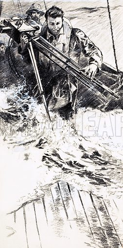 The Big Scoop, illustration from the serial TV Reporter by Robert Bateman. Mick Johnson struggles to carry his camera through crashing waves. Original artwork from Look and Learn no. 147 (7 November 1964).