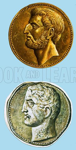 Clash of Giants: Rome's Darkest Hour. (Top) A Roman coin portraying Quintus Fabius; original artwork from Look and Learn no. 925 (13 October 1979); (Bottom) coin portraying a likeness of Hannibal; original artwork from Look and Learn no. 924 (6 October 1979).
