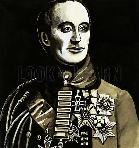 For Valour: The Golden Handshake – for Officer's Only! Major General Sir Denis Pack, who served at Waterloo, displaying his Army Gold Cross with seven gold clasps. Original artwork from Look and Learn no. 1025 (31 October 1981).