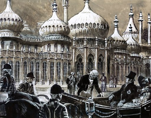 Our Island's Story: The Sorry Reign of Gentleman George. The south coast resort of Brighton was a fishing village when King George IV decided to build a Royal Pavilion. Original artwork from Look and Learn no. 1018 (12 September 1981). Originally published in black & white.