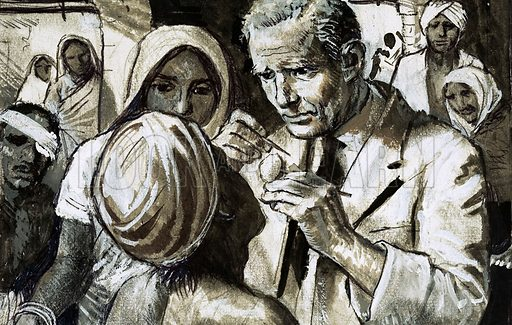 The Missionaries: The Man Who Saved Sight. When Henry Holland went to India in 1900, he little imagined that his work would take over 50 years - and make him an expert on eye diseases. Original artwork from Look and Learn no. 1027 (14 November 1981).