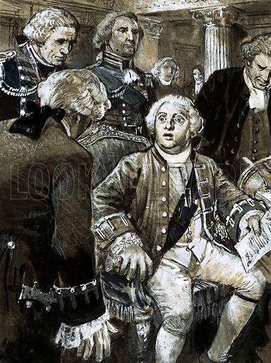Our Island's Story: How Britain Lost a Colony. George III hears the bad news from America that Britain is now at war with her colonies in the American War of Independence. Original artwork from Look and Learn no. 1017 (5 September 1981).