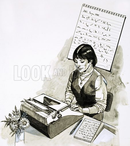 Secretary at a typewriter working from her shorthand notes. Original artwork.