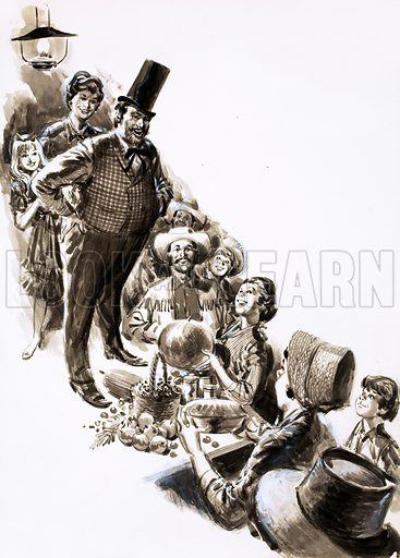 Success and Surprise, illustration from the serial Mr Mysterious and Company by Sid Fleischman. A magical show in the Wild West attracts a lot of visitors, not all of whom can pay to see the show in cash; soon the stage is piled high with things to eat and trade. Original artwork from Look and Learn no. 396 (16 August 1969).