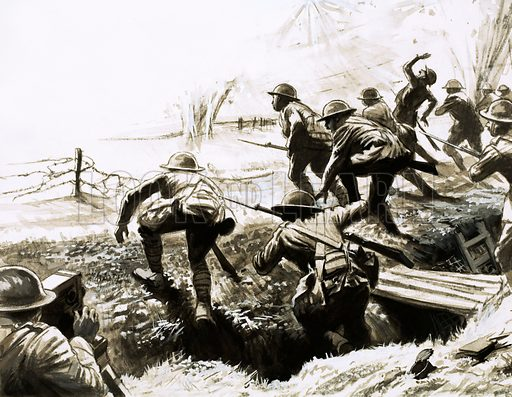 British troops going 'over the top' from a trench during World War I. Original artwork (dated 29/11/69).