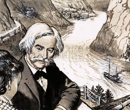 Music of the Fjords. Norwegian composer Edvard Grieg spent his later years in an especially constructed house overlooking a fjord. Original artwork from Look and Learn no. 408 (8 November 1969).
