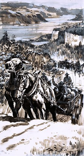 Unidentified Western scene with horses pulling a cart up a steep incline with other settlers in background. Original artwork (dated 30/5/70).