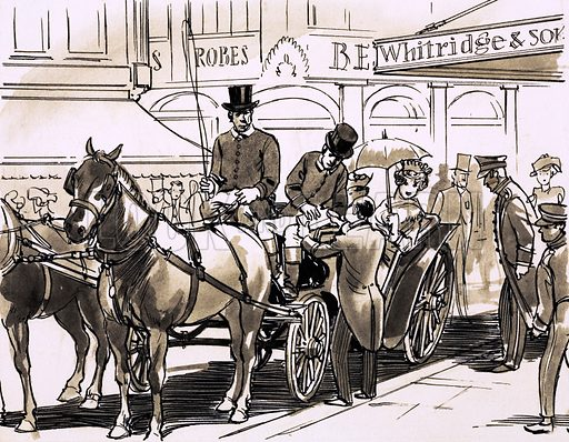 A horse and carriage outside a fashionable department store. Original artwork (dated 30/5/70).