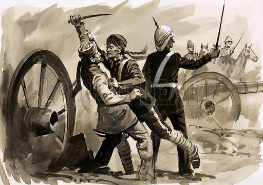 The North West Frontier: Afghan Drums. An Indian soldier named Mazr Ali saves General Roberts from an Afghan knife near Kabul in 1879. Original artwork from Look and Learn no. 437 (30 May 1970).