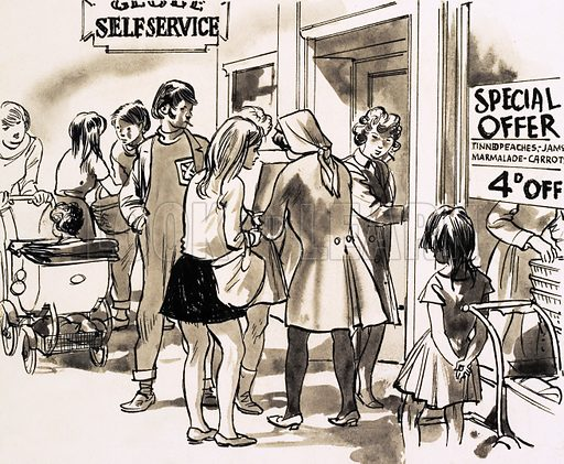 From Then Till Now: The Story of Shopping. Self-service department stores came into fashion after the Second World War. Original artwork from Look and learn no. 437 (30 May 1970).