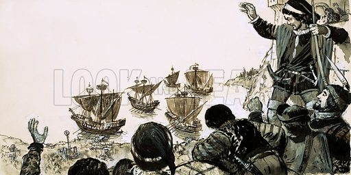 """Rebellion: """"Death to the French"""". In 1282, Sicilian rebels cheer from the walls as the French sail back to Italy. Original artwork from Look and Learn no. 424 (28 February 1970)."""