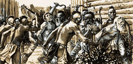 They Gave Their Lives: The Missionaries' Fate. Iroquois indians attack St Louis, Canada, and force missionaries to walk between two lines of natives as they are beaten and clubbed. Original artwork from Look and Learn no. 465 (12 December 1970).