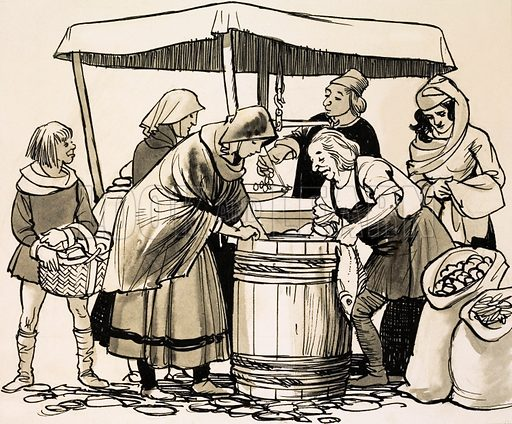 From Then Till Now: The Story of Shopping. In the Middle Ages, food was bought from stalls set out in the streets. Original artwork from Look and Learn no. 436 (23 May 1970).