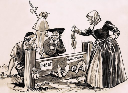 From Then Till Now: The Story of Shopping. Shopkeepers and market stall traders who sold short measures were punished in stocks or pillories. Original artwork from Look and Learn no. 436 (23 May 1970).