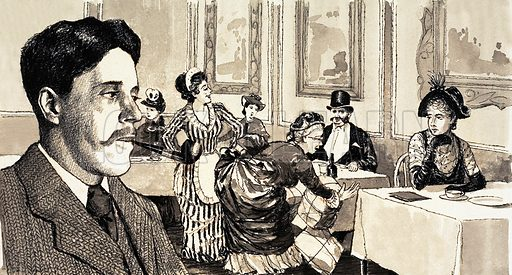 Bennett, the Social Observer. Arnold Bennett was inspired to write The Old Wives' Tale when he observed a large lady in a restaurant trying to find a chair that would contain her ample girth. Original artwork from Look and Learn no. 421 (7 February 1970).