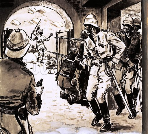 The North West Frontier: Retreat From Glory. The Pathan Revolt began in 1897 with an attack on the Malakand garrison. Original artwork from Look and Learn no. 438 (6 June 1970).