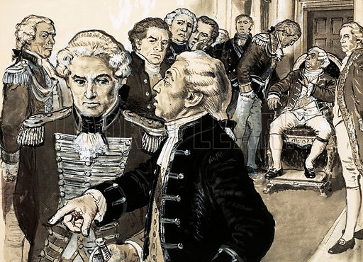 History's Heroes: Death Before Dishonour. When General Burgoyne arrived home after losing the American War of Independence he met such a storm of abuse that the King refused to see him. Original artwork from Look and Learn no. 569 (9 December 1972).