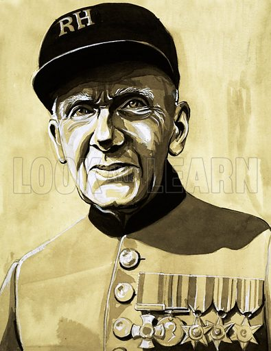 For Valour: The Forgotten Stars of World War Two. A Second World War veteran dressed in the uniform of the Royal Hospital, Chelsea, wearing his campaign medals and stars. Original artwork from Look and Learn no. 1028 (21 November 1981).