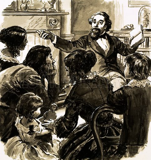Charles Dickens reading to his family.