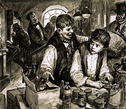 Unidentified scene of boy apprentice. Original artwork (dated 4 May).