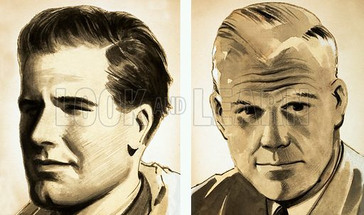 Whey Did it Happen? The Dam Busting Mission! Portraits of Commander Guy Gibson (left) and Dr Barnes Wallis. Original artwork from Look and Learn no. 504 (11 September 1971).