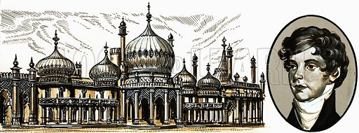 Royal Pavilion, Brighton, with George IV(inset). Original artwork from Look and Learn no. 701 (21 June 1975).