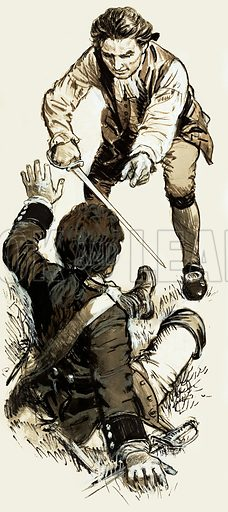 They Will Live Forever: Henry Fielding. In Fielding's novel Tom Jones, the lead character fights a duel with a soldier named Northerton. Original artwork from Look and Learn no. 463 (21 November 1970).