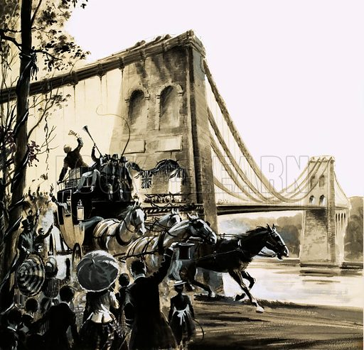 The Master Builders: Thomas Telford - The Man of Iron. The Manai Bridge, build by Thomas Telford. Original artwork from Look and Learn no. 418 (17 January 1970).