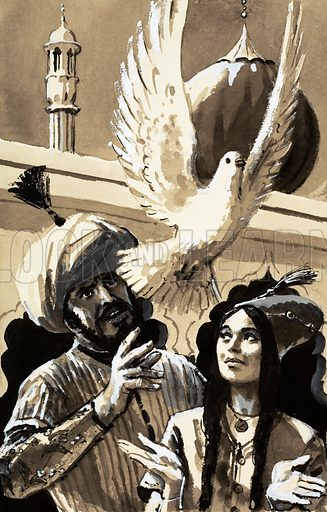 The Great Moghuls: The King of Straw. Nurjahen opened her hand and the second bird fluttered away. The Indian Prince Jahangir had her husband killed and kept her prisoner for years before she consented to marriage. Original artwork from Look and Learn no. 645 (25 May 1974).