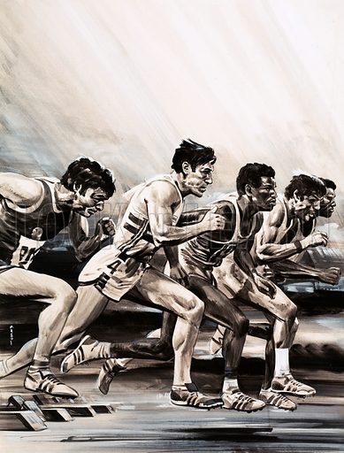 How Science is Helping Sport. The photofinish camera helps separate the runners at the finishing line. Original artwork from Look and Learn no. 984 (17 January 1981).
