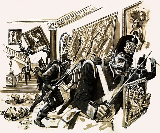 The Crimean War: The Turning Point. When the British troops successfully took Kertch, they went berserk, looting and destroying for no good reason. Original artwork from Look and Learn no. 492 (19 June 1971).