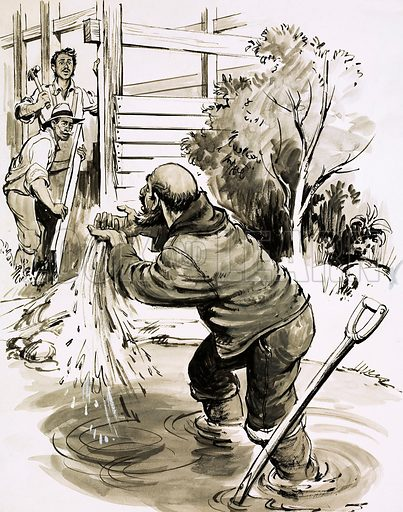 The Treasure-Hunters: Gold at Sutter's Mill! James Marshall becomes the first man to find gold in California in 1848. Original artwork from Look and Learn no. 455 (3 October 1970).