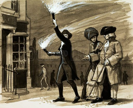 Before street lights, the rich employed people to hold torches to light their evening strolls. Original artwork (dated 21 Dec).
