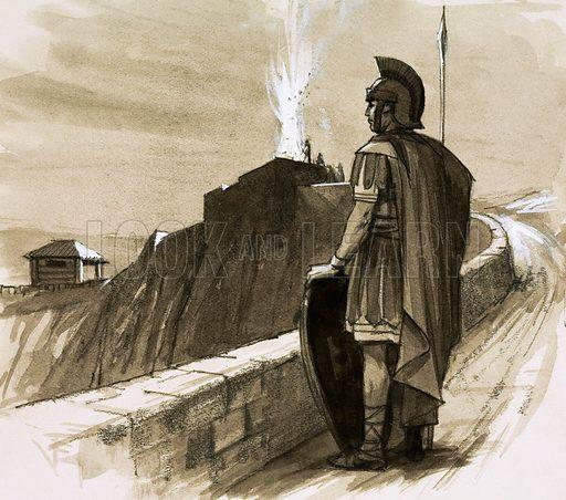 Roman soldier guarding a border wall. Original artwork (dated 24/2/73).