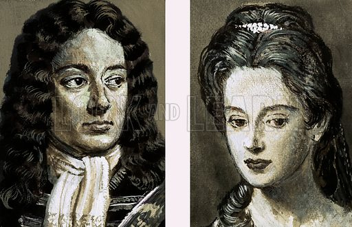 Our Islands' Story: When England Had Two Queens. Portraits of the Duke and Duchess of Marlborough. Original artwork from Look and Learn no. 1014 (15 August 1981).