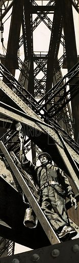 Unidentified man climbing amongst the girders of a bridge. Original artwork (dated 31 Jan).